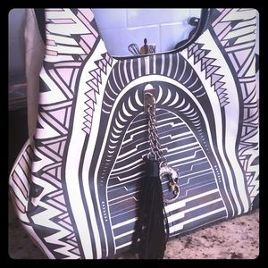 Brand new leather black white shariff bag